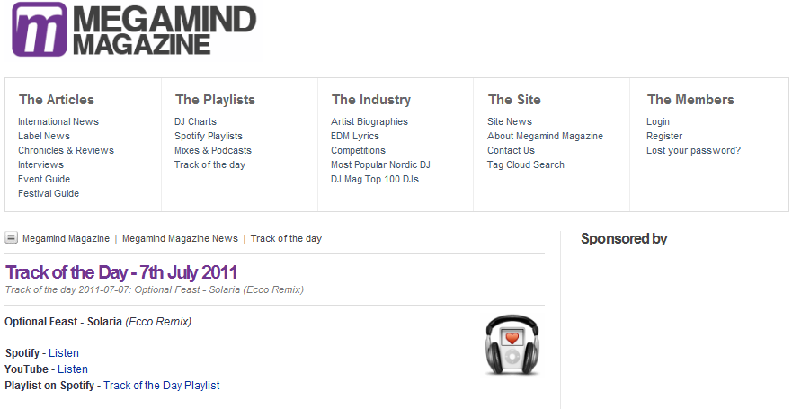 20110707 - Solaria (Ecco Remix) is Track Of The Day on Megamind Magazine